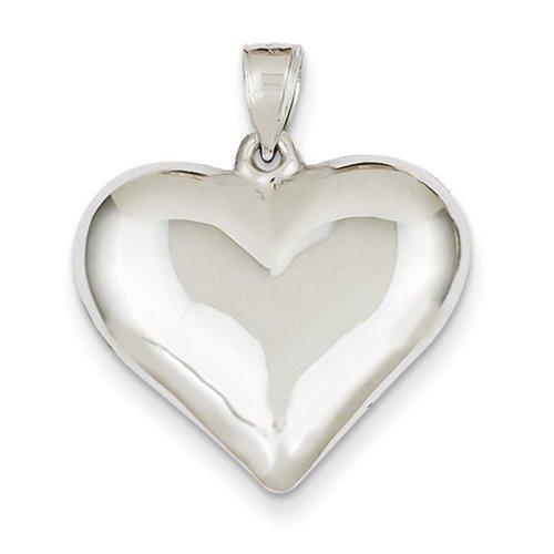 Icecarats Créatrice De Bijoux En Or 14K Blanc Poli Pendentif Coeur Creux