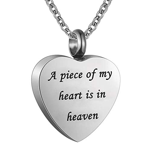 Norya Cremation Jewelry Urn Necklace for Ashes I Used to be his Angle,Now He's Mine Stainless Steel Memorial Pendant (A Piece of My Heart is in - Necklace Angle