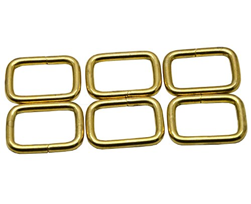 Okones Pack of 8pcs 1''Inner Width Opening Solid Brass Rectangle Buckle Loop Ring Belt and Strap Keeper for Backpack Bag Accessories (Insides Width 1'') by Okones Art