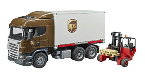 Bruder Scania R-Series Ups Logistics Truck with Forklift Vehicles-Toys