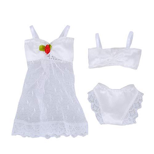 (E-TING 1 Set 3 PCS White Fashion Pajamas Lingerie Lace Dress Clothes for Girl Dolls)