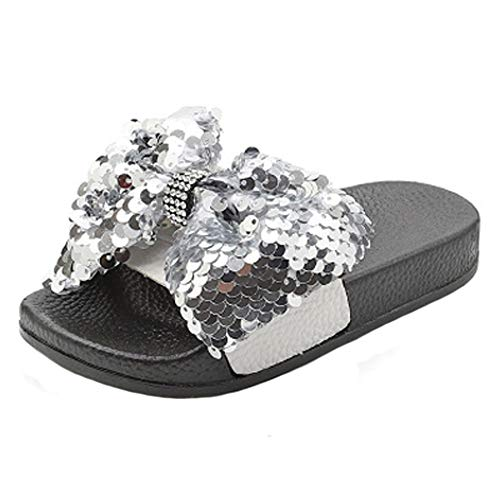 HONGTEYA Girls Glitter Slides Slippers Black Sequin Bow Shoes for Kids Beach PVC Molded Footbed Flatform Sandals (11 M US Toddler,18cm, 7.09inches, CN31, Silver)
