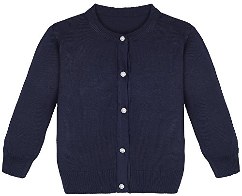 Lilax Little Girls Knit Uniform Cardigan Long Sleeve Sweater