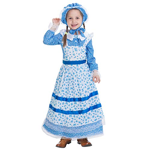 Colonial Pioneer Girls Costume Deluxe Prairie Dress for Halloween Laura Ingalls Costume Dress Up Party (Medium (8-10yr))]()