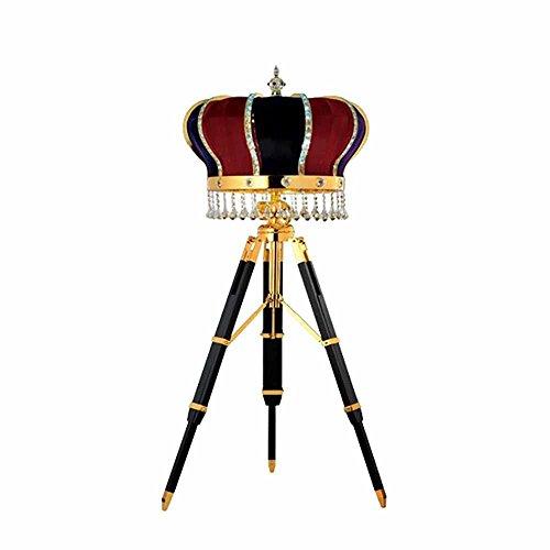 DMMSS Creative Crystal Retro Tripod Floor Lamp Living Room Fabric Crown Floor Lamp