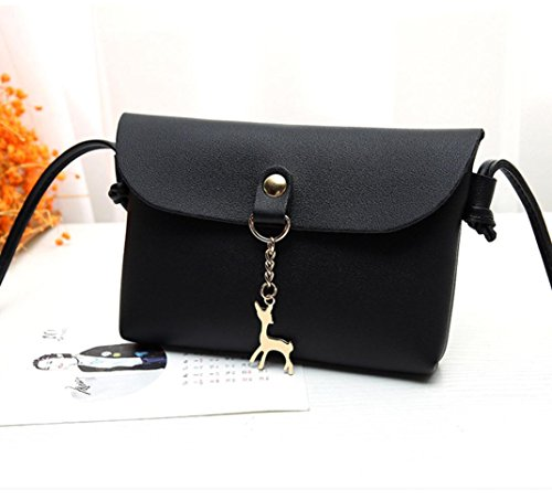 Leather Vintage Black Shoulder,Women's Handbag Black Pendant Small Bag Crossbody Deer Shoulder zqB5wX5