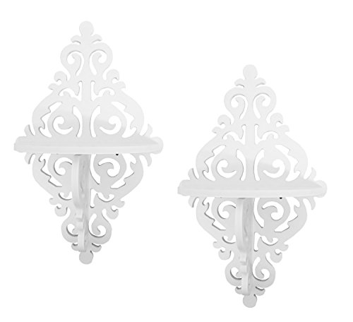 Set of 2 scroll design floating wall shelves, easy assemble and hang, screws and hardware inluded