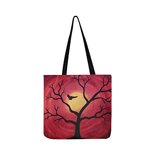 Bird Tree Sunset Nature Branch Leaf Silhouette Canvas Tote Handbag Shoulder Bag Crossbody Bags Purses For Men And Women Shopping Tote (Saint Laurent Monogram Leather Cross Body Bag)