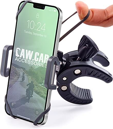 Bike & Motorcycle Phone Mount – for iPhone 12 (11, Xr, SE, Max/Plus), Galaxy S20 or Any Cell Phone – Universal ATV, Mountain & Road Bicycle Handlebar Holder. +100 to Safeness & Comfort