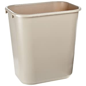 "Rubbermaid Commercial FG295600BEIG Deskside Wastebasket, 7 gallons, 28-1/8 quart Capacity, 14-3/8 Length x 10-1/4 Width x 15"" Height, Medium, Beige (Pack of 12)"