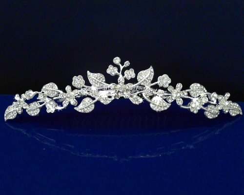 Communion Tiara (SparklyCrystal Girl Tiara Comb With Crystal Flowers and Leaves C5235)