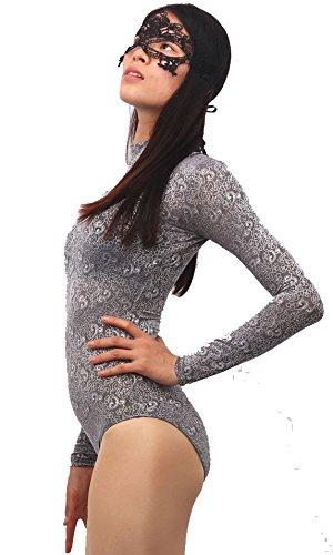 LinvMe Women s Long Sleeve Turtleneck Bodysuit Gray Lace Floral Print XL   Amazon.co.uk  Clothing 7b97ec740