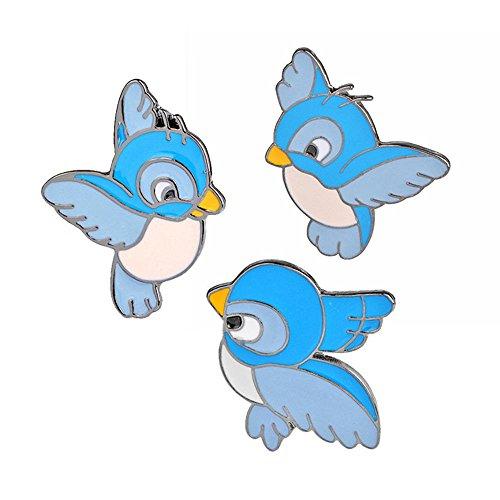 (3 Piece/Set Cartoon Alloy Blue Bird Pattern Brooch Pin Collar Badge Kids)