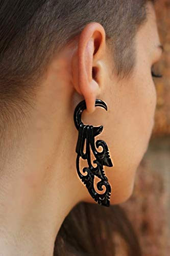 - Cocoroots Women Faux Gauge Ear Plug Split Hook Hand Carved Horn or Bone with Silver Bar