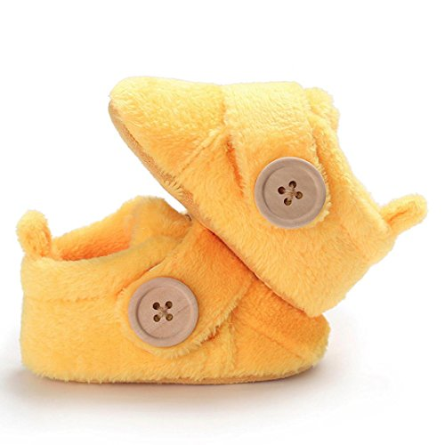 IGEMY First Walker - Schöne Kleinkind Babyschuhe runde Kappe Wohnungen weiche Hausschuhe Schuhe Gelb
