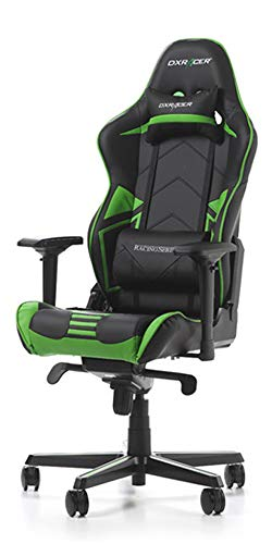 DXRacer USA Racing Series RV131 Gaming Chair Computer Chair Office Chair Ergonomic Design Swivel Tilt Recline Adjustable with Angle Lock, Includes Headrest Pillow and Lumbar Cushion (Green) (Best Gaming Chair 2019)