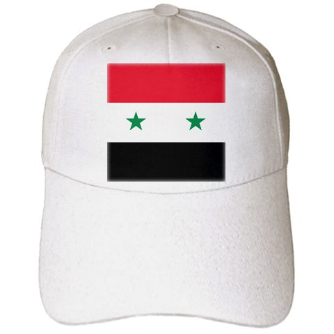InspirationzStore Flags - Flag of Syria - Syrian red white black with two green stars Middle East Arab country Arabic world - Caps - Adult Baseball Cap (cap_158443_1)