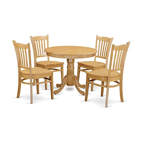 East West Furniture ANGR5-OAK-W 5 Piece Kitchen Table and 4 Chairs Small Set