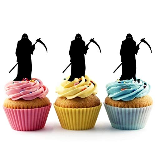 TA0815 Death Grim Reaper Silhouette Party Wedding Birthday Acrylic Cupcake Toppers Decor 10 pcs