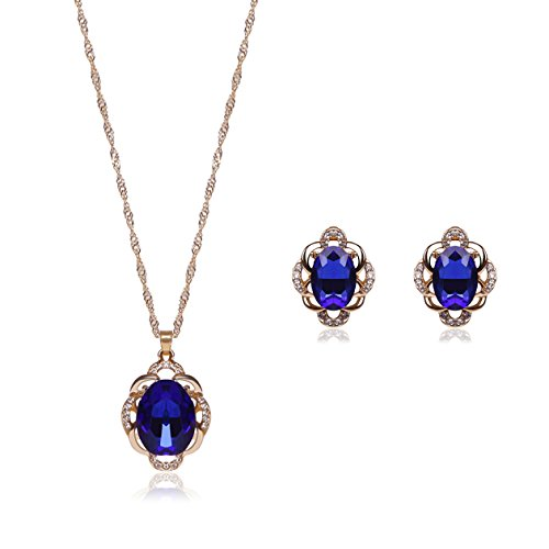 OUFO Necklace Earring Ring Fashion Jewelry Sets Boxed Blue Stone (2236)