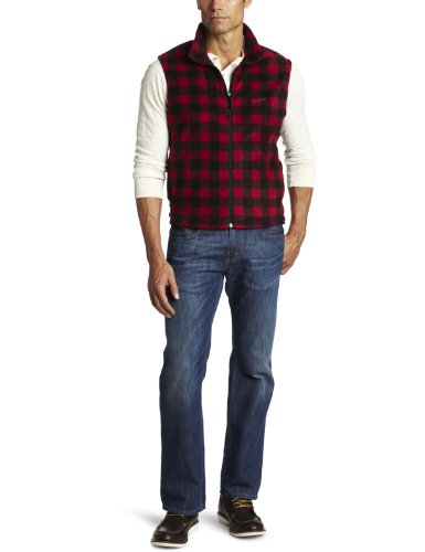 Woolrich Men's Andes Printed Fleece Vest, Buffalo Red/Black, Large
