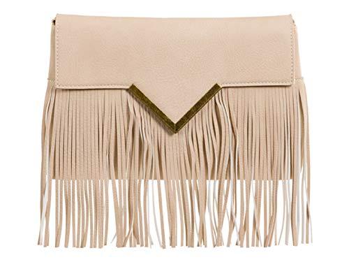 Tassel Cross Beige V Clutch Wedding Handbags LeahWard Bags Women's Body RagnA7