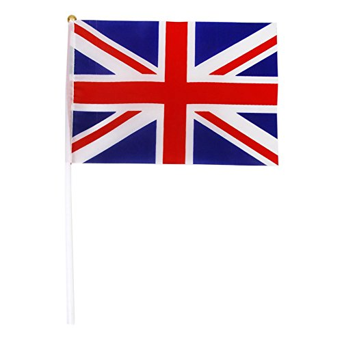UK flags - TOOGOO(R)Hand Waving Union Jack Flags Plastic Poles 21 x 14cm Pack of 12 Red + white + (Party Supplies Uk)