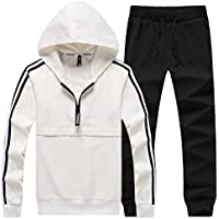 HENGAO Men's Half Zipper Tracksuit with Hood