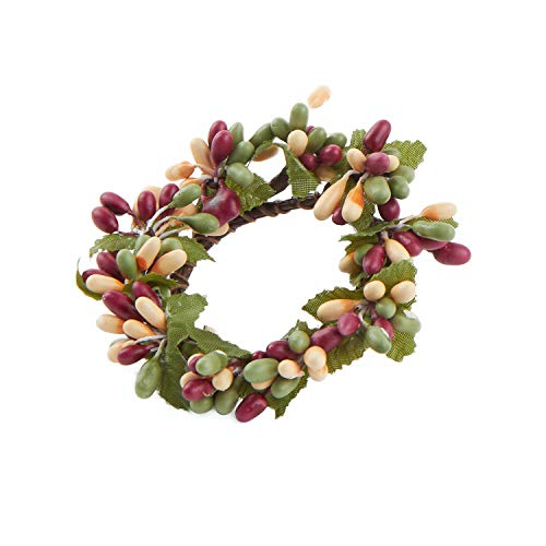 (Factory Direct Craft Plump Cream, Burgundy and Olive Pip Berry Candle or Napkin Rings | Group of 4)