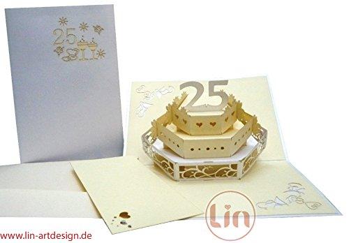 Lin, pop-up Wedding Card, 3D Greeting Card for The 25th Wedding Anniversary, silverWedding Cake. 25 Year Anniversary Invitations
