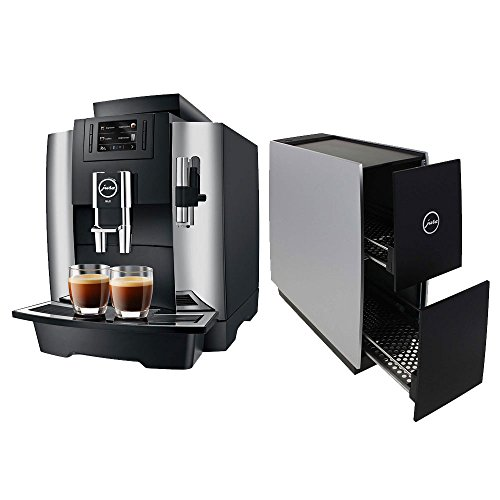 Jura 15145 Automatic Coffee Machine WE8, Chrome with Jura 72229 Cup Warmer, Black