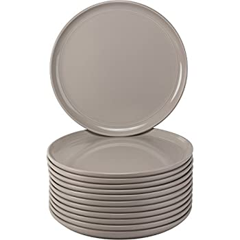 Modern Stoneware Double Line Catering Pack Set of 12 Gray Dinner Plates  sc 1 st  Amazon.com & Amazon.com | Modern Stoneware Double Line Catering Pack Set of 12 ...