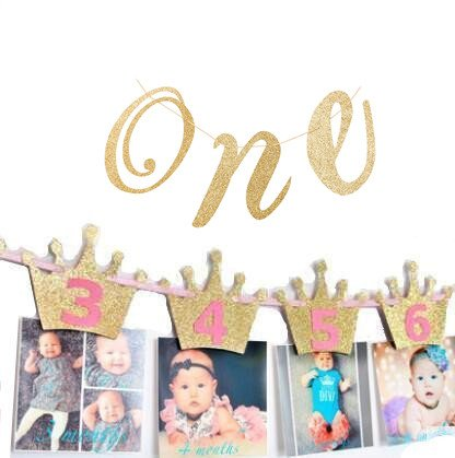 (urwonderbox Pink Princess Crown Monthly Milestone Photo Garland with ONE Happy Birthday Girl High Chair Glitter Banner Garland Sign for Baby First 1st Birthday Party Decorations)