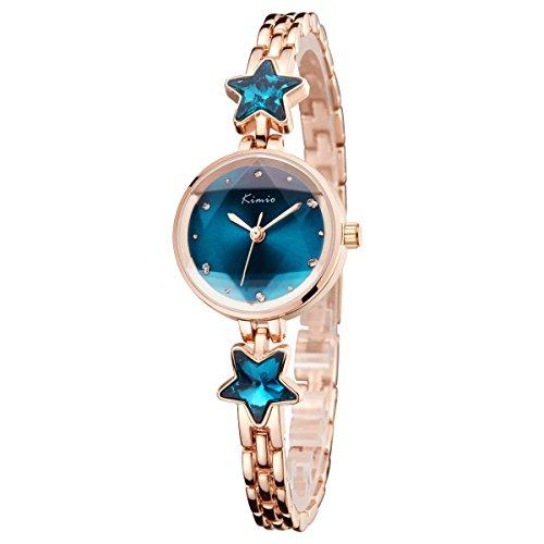 Tayhot Women Bracelet Watches,Women's Quartz Watches,Crystal Dial Womens Watches,Ladies Girls Analog Watches,Luxury Womens Rhinestone Watch with Blue Dial/Rose Gold (Chic Ladies Watch)