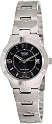 Casio Women's LTP1241D-1A Silver Stainless-Steel Quartz Watch with Black Dial