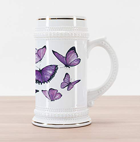 Lunarable Purple Butterfly Beer Stein Mug, Watercolor Images of Fragile Flying Monarch with Insects, Traditional Style Decorative Printed Ceramic Large Beer Mug Stein, Purple Violet and Black