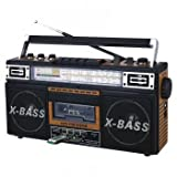 Qfx J-22u-brn Retro Collection Boom Box Wood With Am/fm/Sw-1 - Sw2 4-band Radio And Cassette To Mp3 Converter