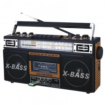 Qfx J-22u-brn Retro Collection Boom Box Wood With Am/fm/Sw-1 - Sw2 4-band Radio And Cassette To Mp3 Converter by QFX