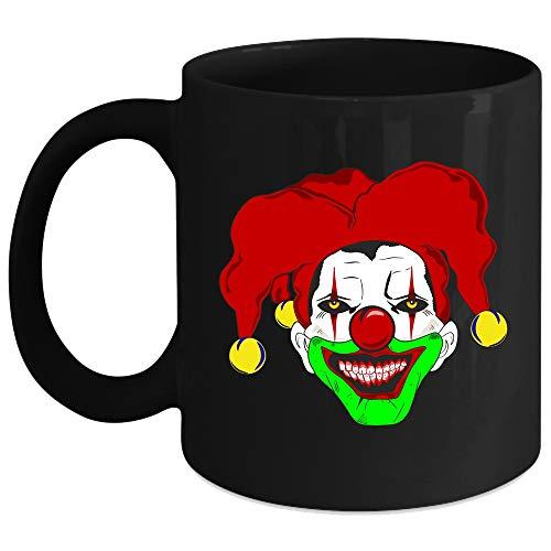 Clown Face Mug, Scary Clown Cup, Halloween Gift (Coffee Mug 15 Oz - Black) ()