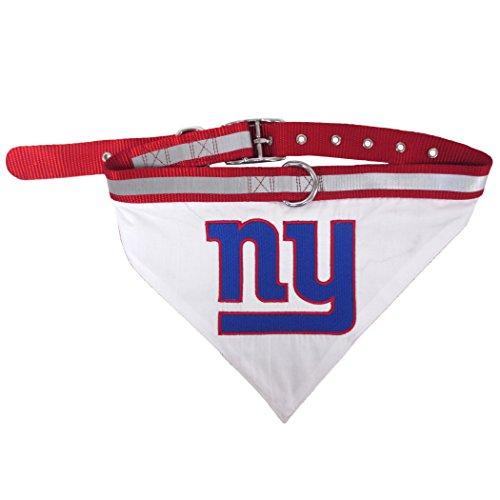 NFL BANDANA - NEW YORK GIANTS PET BANDANA with Reflective & Adjustable PET COLLAR, Large