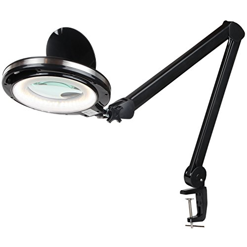 Led Lighted Magnifier (Brightech LightView PRO LED Magnifying Clamp Lamp - Daylight Bright Magnifier Lighted Lens – Dimmable with Adjustable Color Temperature Utility Light for Desk Table Task Craft or Workbench –black)