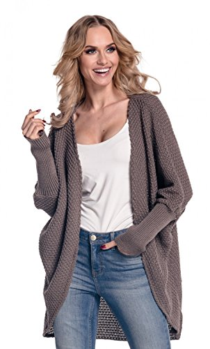 Glamour Empire. Womens Warm Buttonless Cardigan Chunky Textured Knit. 323 (Cappuccino, ONE SIZE US 8/10/12)