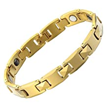 Mens Magnetic Tungsten Carbide Gold Link Chain Bracelet High Polished Free Link Removal Kit