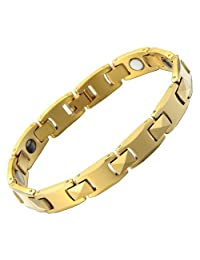Mens Magnetic Tungsten Carbide Gold Link Chain Bracelet High Polished Free Link Removal Kit