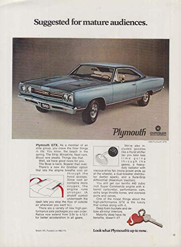 Suggested for mature audiences Plymouth 440 GTX ad 1969 PBY