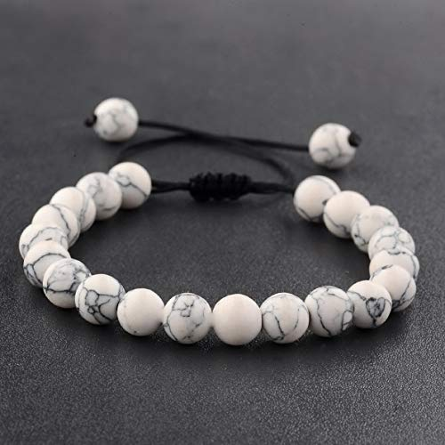 Hebel Fashion Mens Beads Turquoise Howlite Agate Macrame Weaving Couples Bracelets | Model BRCLT - 30114 | ()