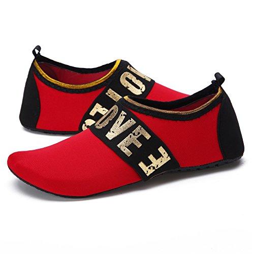 Wxdz Femmes Chaussures De Leau À Séchage Rapide Pieds Nus Aqua Chaussettes Pour Nager Plage Piscine Surf Yoga G.love-red
