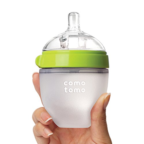 413fXcZs3ML - Comotomo Natural Feel Baby Bottle, Green, 5 Ounce