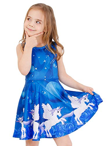 LaBeca Little Girls Party Casual Printed Twirly Sleeveless Dress Galaxy Unicorn -