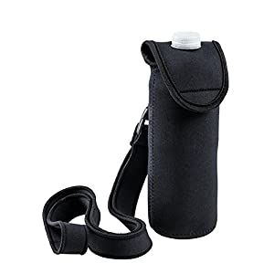 Bottle Carrier With Hook, Detachable Strap And Attached Cover. Neoprene, Black, insulated Drink Holder, Water Bottle Carrier By StrongFitt Great for Stainless Steel and Plastic Bottles.